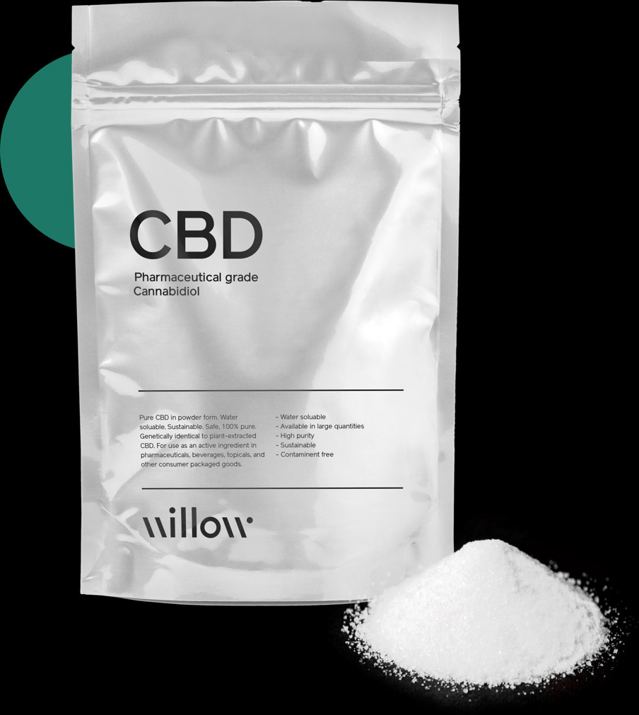 Front view of pure CBD in a consumer packaged goods bag with white powder in front.